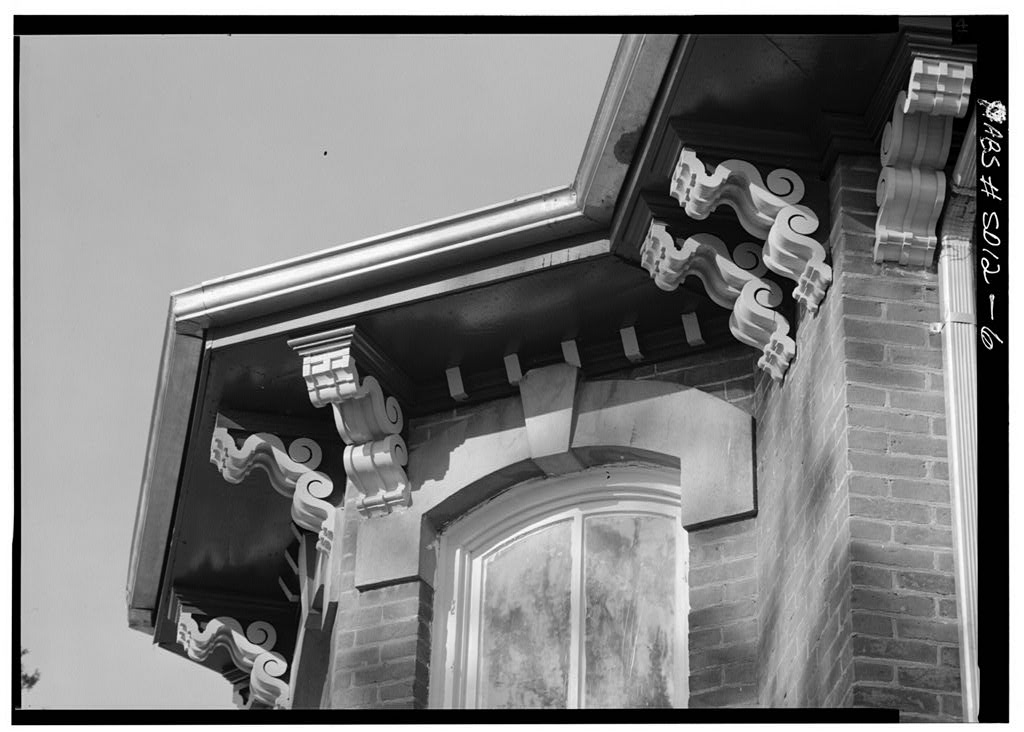 An elaborate Italiante cornice on the Austin-Whittemore House.