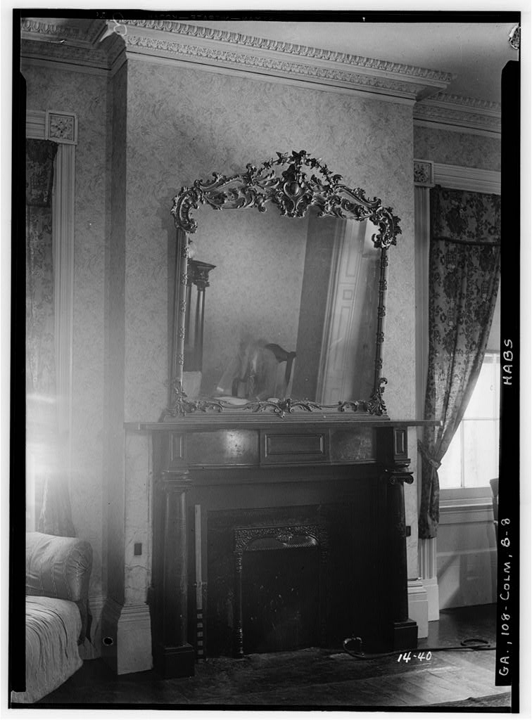 Marble fireplace mantle inside the Greek Revival Fontaine House.