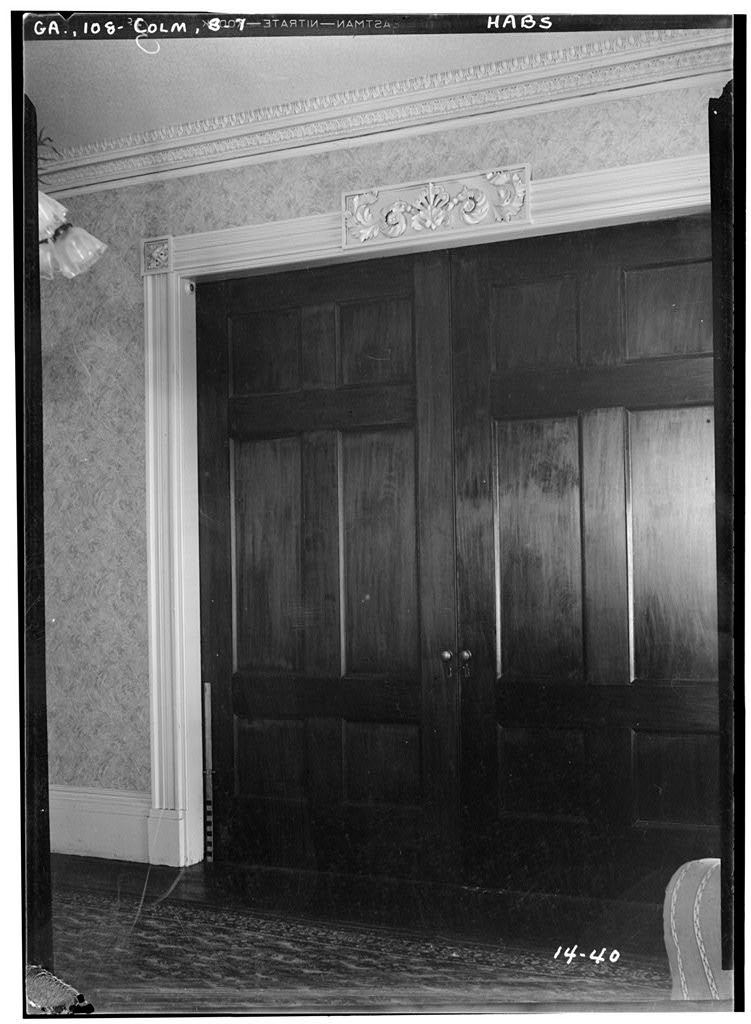 Pocket Doors inside the parlor of the Greek Revival Fontaine House.