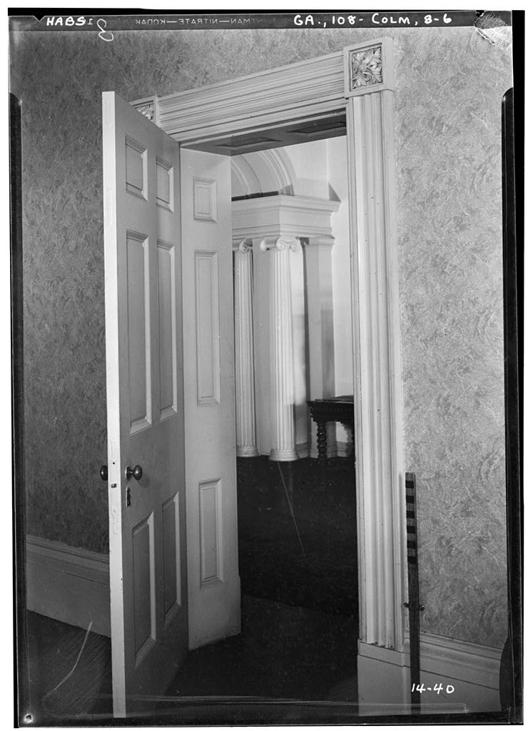 Greek Revival door case inside the Fontaine House.