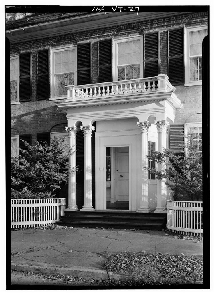 Federal Style porch on General Lyman Mower House.