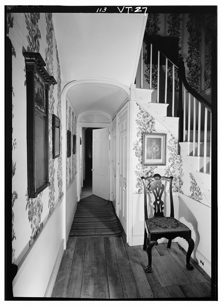 Federal style staircase & entry hall of the General Lyman Mower House.