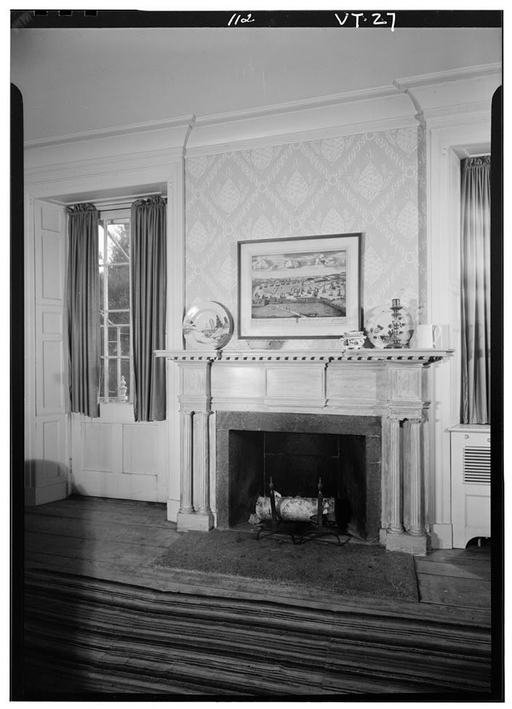 Federal style mantle inside the General Lyman Mower House.