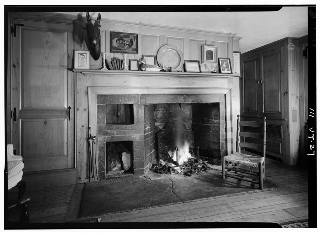 Paneled fireplace inside the General Lyman Mower House.