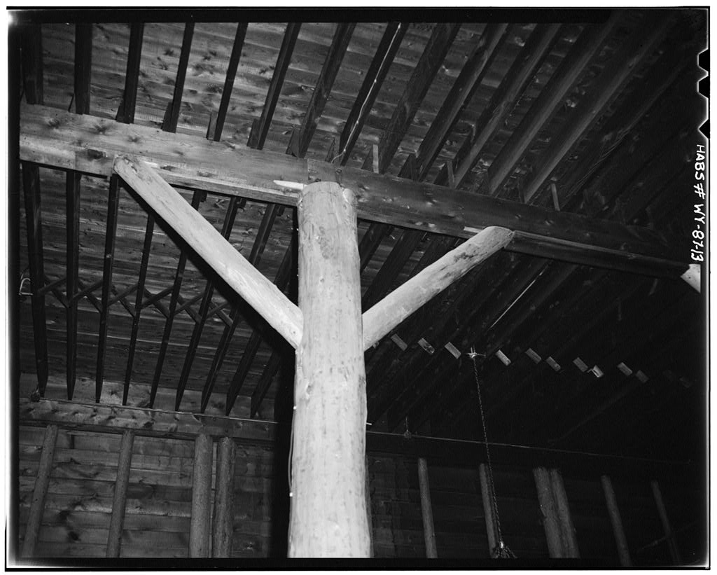 Rustic timber trusses in the lobby of Yellowstone's Old Faithful Inn.