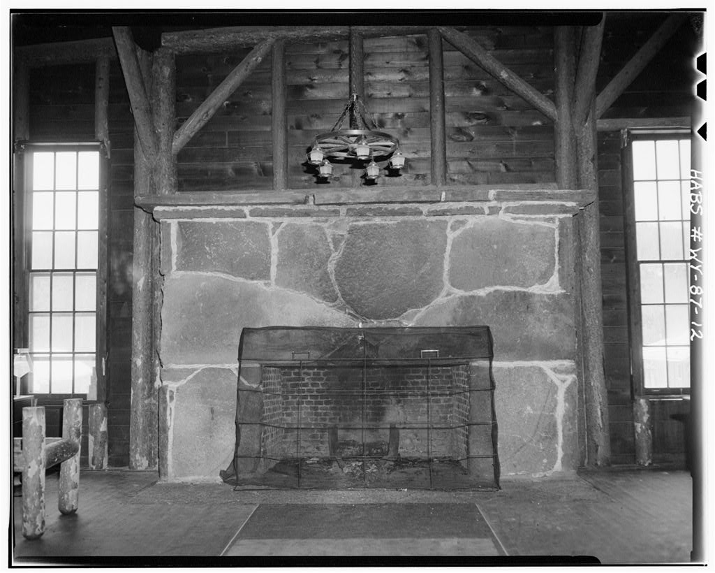 Rustic field stone fireplaces inside Yellowstone's incredible 1903 Old Faithful Inn.