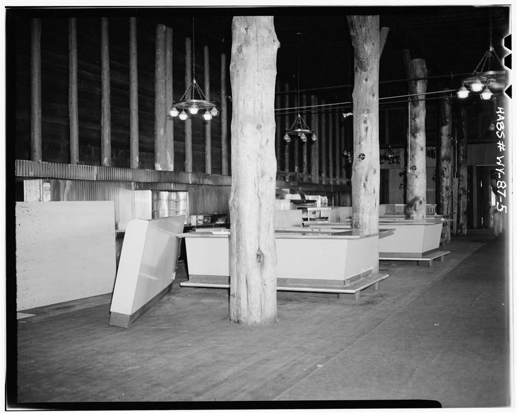 Timber interior of Yellowstone's incredible 1903 Old Faithful Inn.