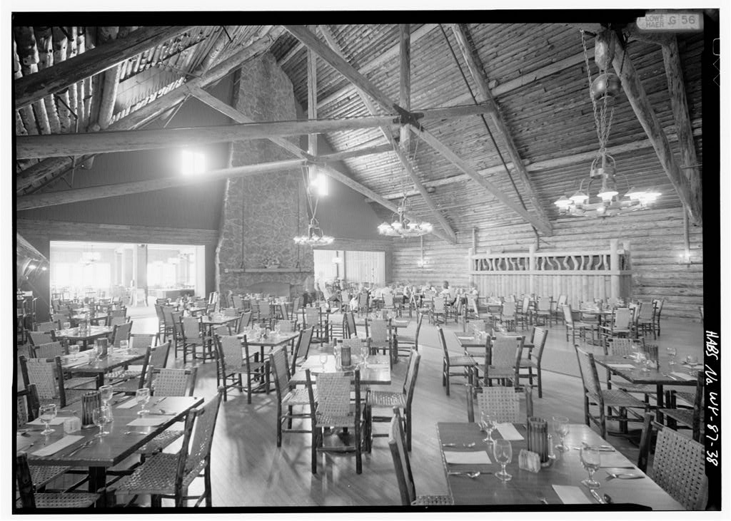Elaborate timber trusses inside the dining room of Yellowstone's incredible 1903 Old Faithful Inn.