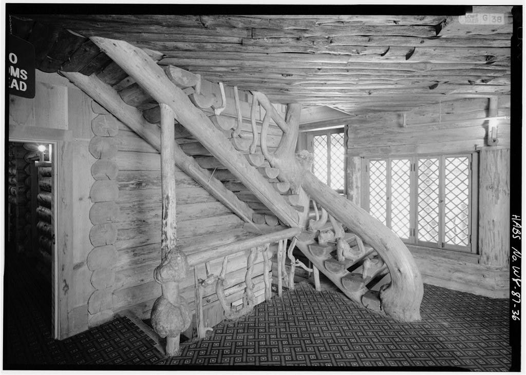 Knotty pine log cabin staircase inside Yellowstone's incredible 1903 Old Faithful Inn.
