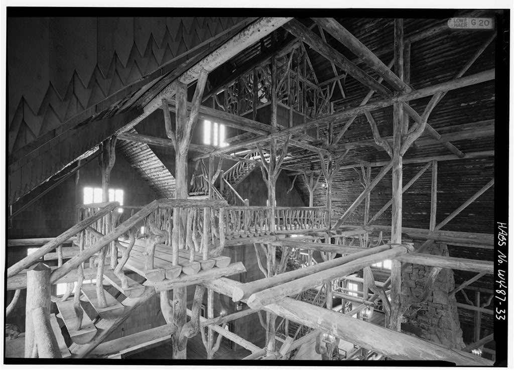 Elaborate timber trusses inside the grand lobby of Yellowstone's incredible 1903 Old Faithful Inn.