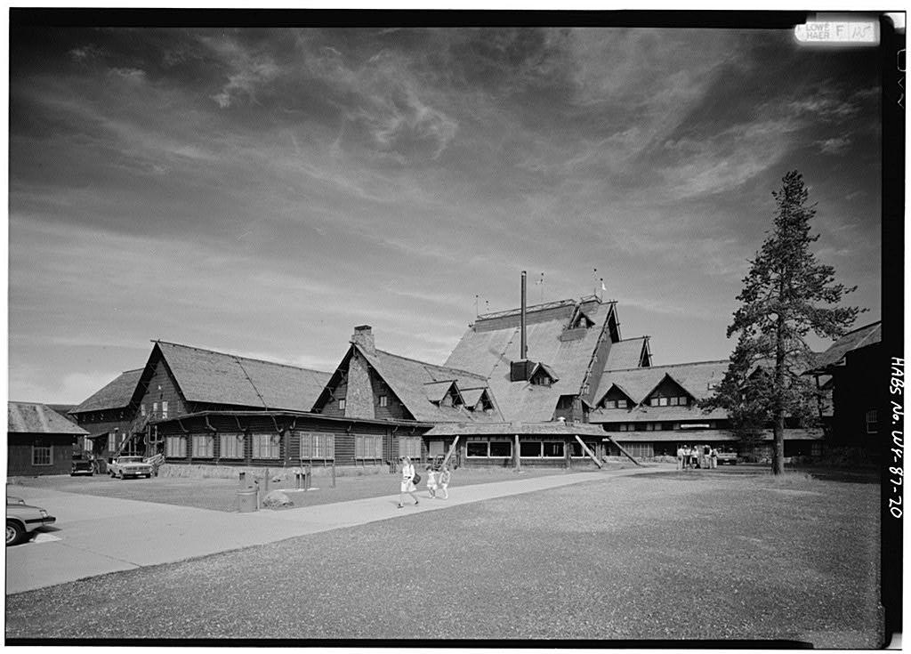 Rustic Facade of the incredible 1903 Old Faithful Inn.