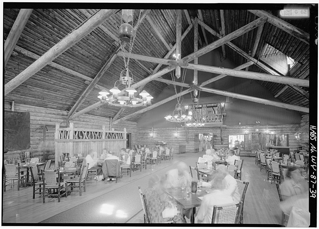 Rustic dining room interior of Yellowstone's Old Faithful Inn.