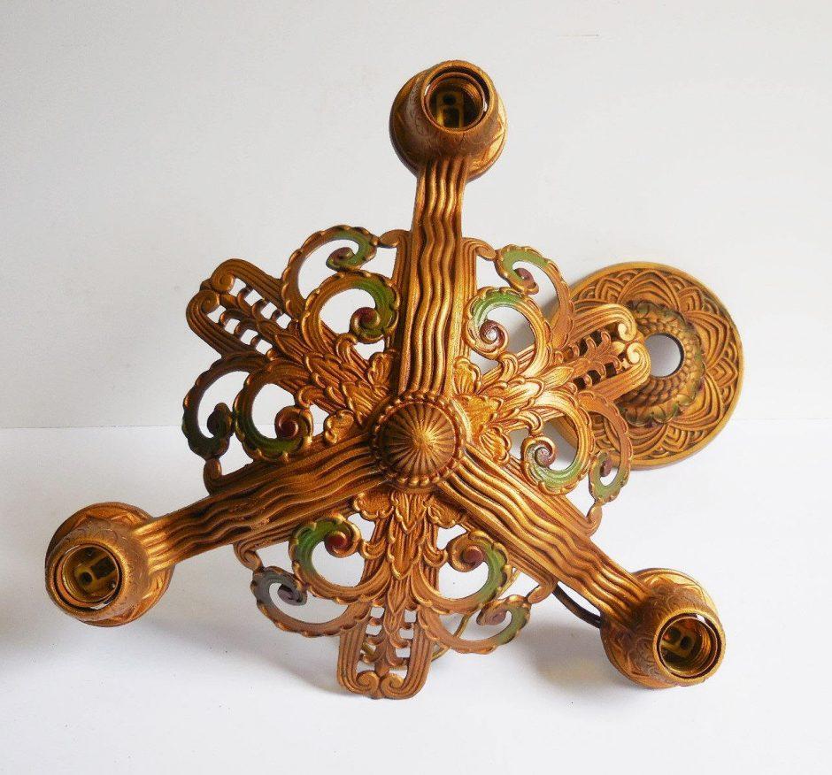 3x antique gilt iron art deco chandeliers classicsfe 3x antique gilt iron art deco chandeliers arubaitofo Gallery
