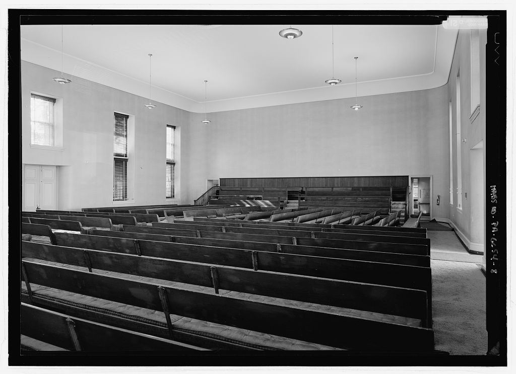 Spartan interior of the Germantown Friends Meeting House.