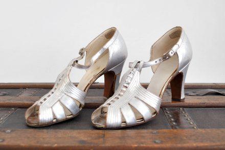 Silver Straps Art Deco High Heel Shoes