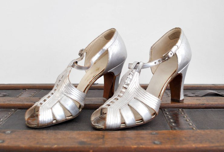 Silver Straps Art Deco High Heel Shoes