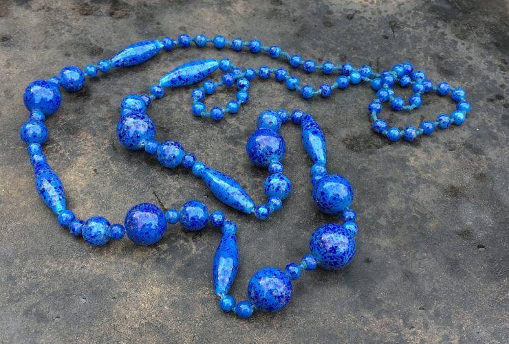 Vintage Lapis Glass Bead Necklace