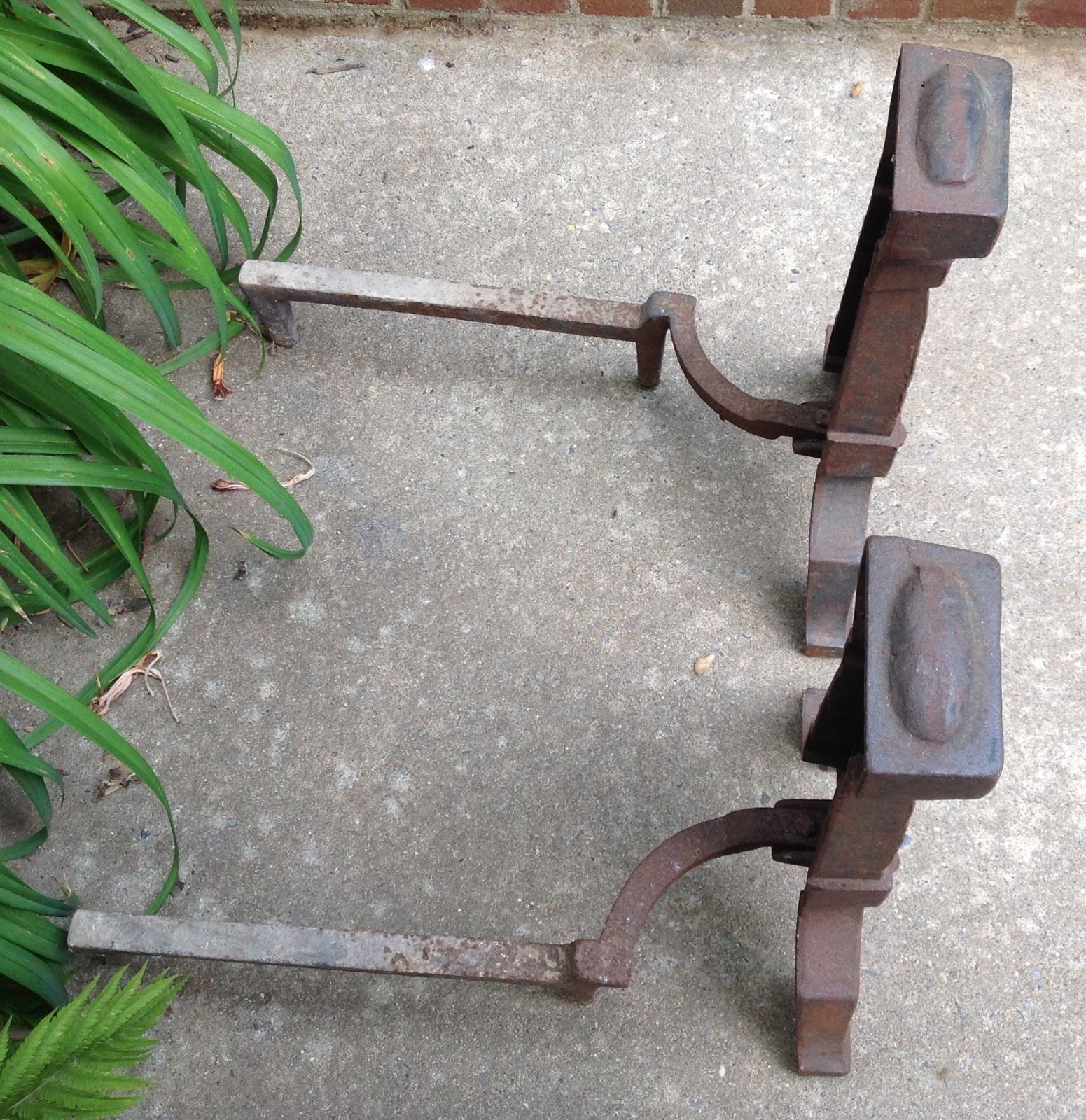 Antique Cast Iron Andirons
