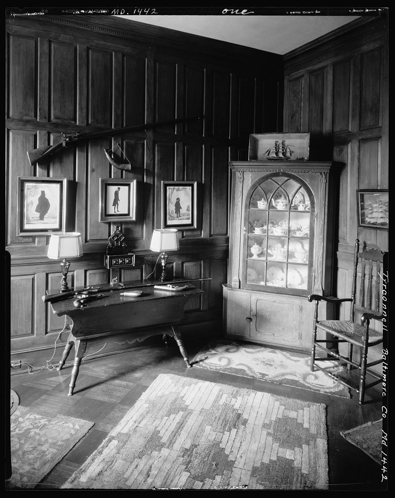 Wood paneled trophy room of Baltimore's Tyrconnell House