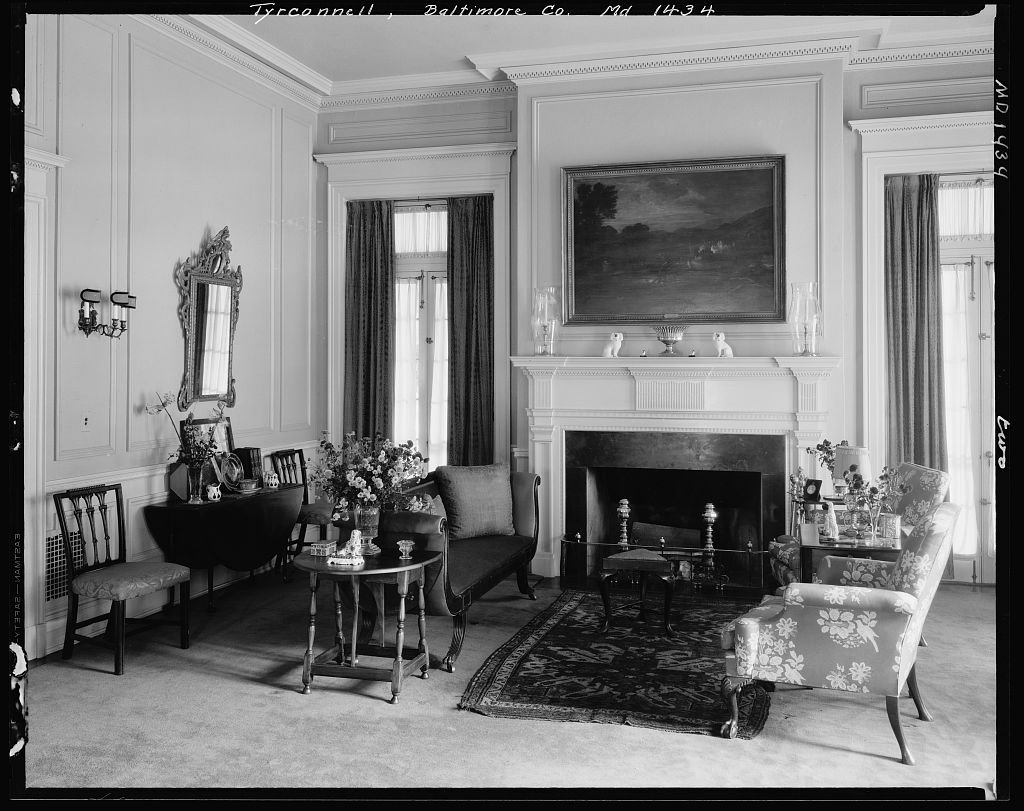 Antique filled drawing room of Baltimore's Tyrconnell House