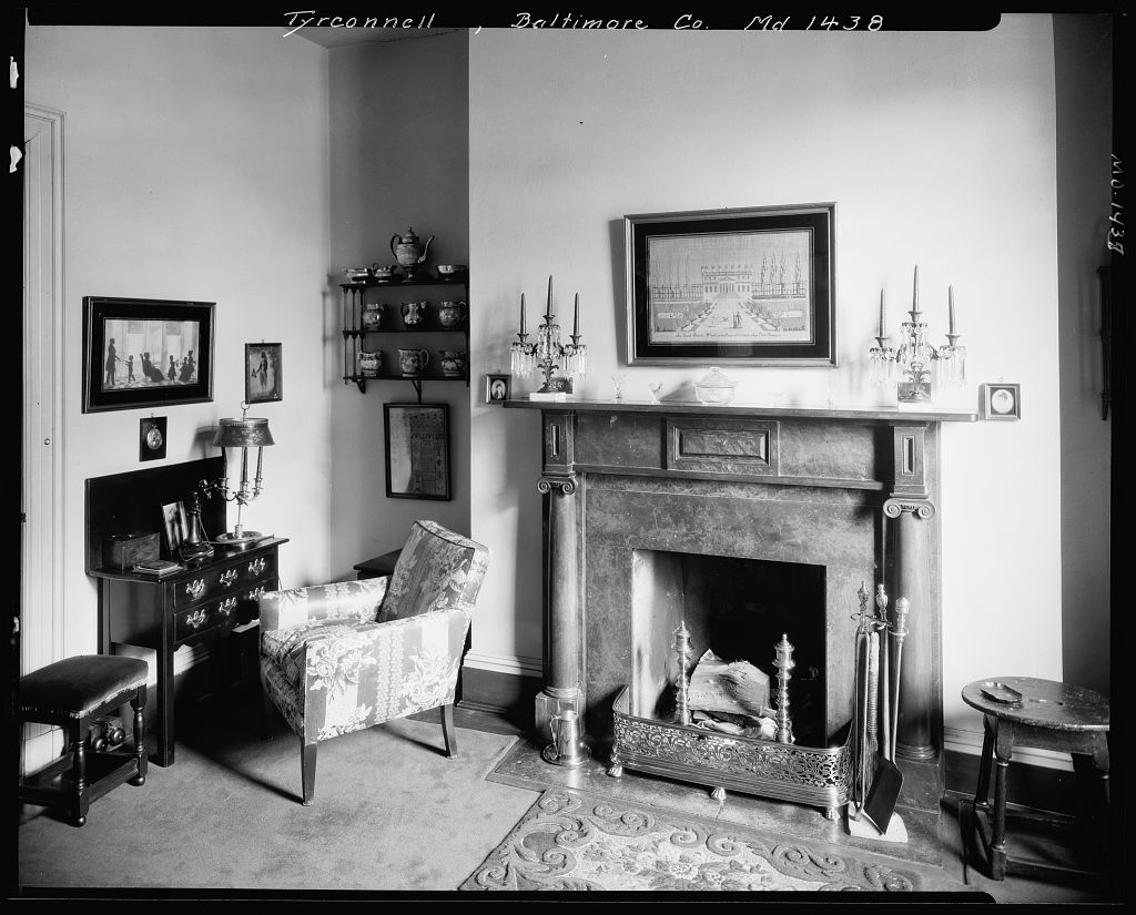 Gracious carved pine federal style fireplace in Baltimore's Tyrconnell House
