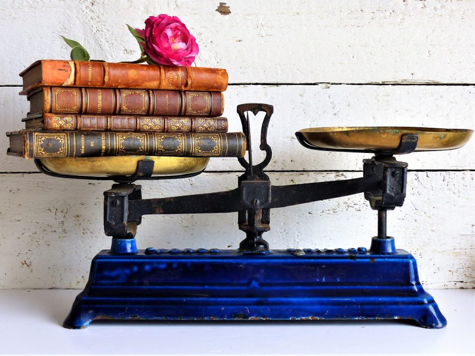 Antique French Cast Iron and Brass Kitchen Scale