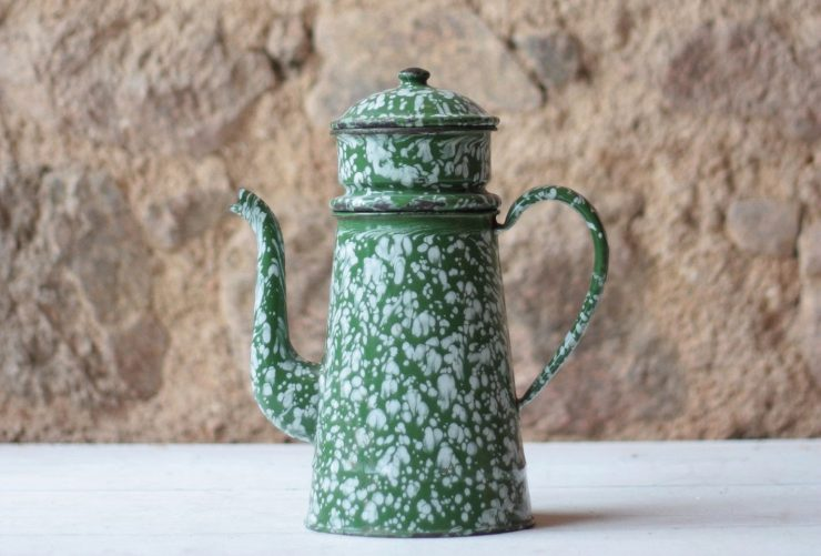 Antique French Enamel Coffee Pot