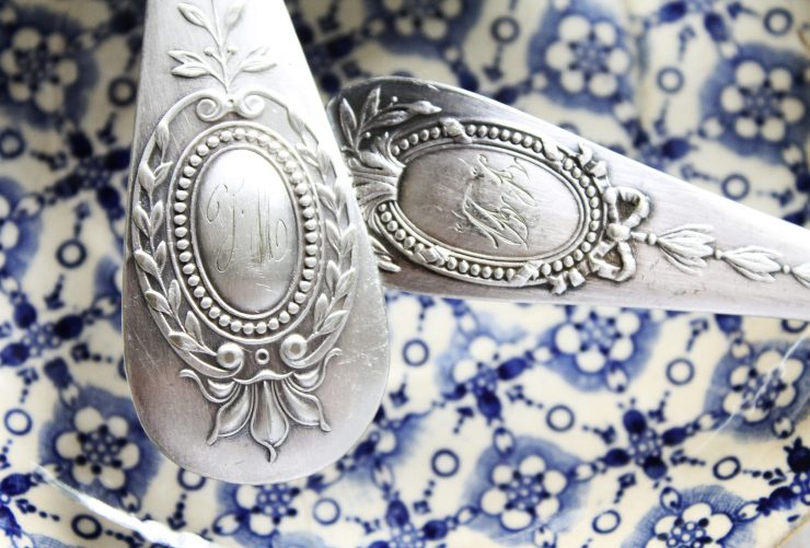 Antique Monogrammed Silver Spoons