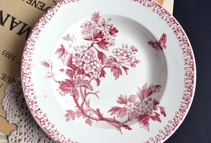 Antique Red Transferware Plate