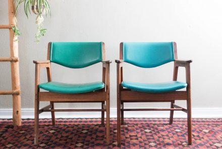 Vintage Walnut Gunlocke Office Chairs