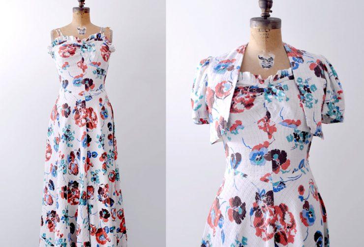 Vintage 1930's floral print bolero dress