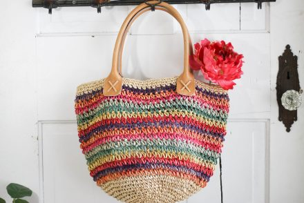 Vintage Colored Straw Beach Bag